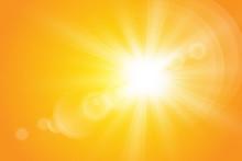 Warm Sun On A Yellow Backgrou...