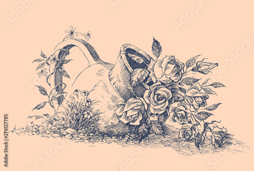 Flowers in ceramic pot in the garden vector hand drawing Wallpaper Mural