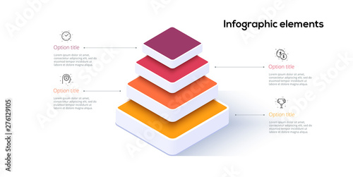 Photo Business pyramid chart infographics with 4 steps