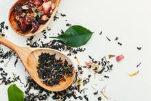Leaf  Tea In A Wooden Spoon Is...