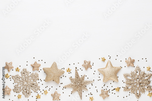 Poster Amsterdam Christmas composition. Christmas decorations on white background. Flat lay, top view