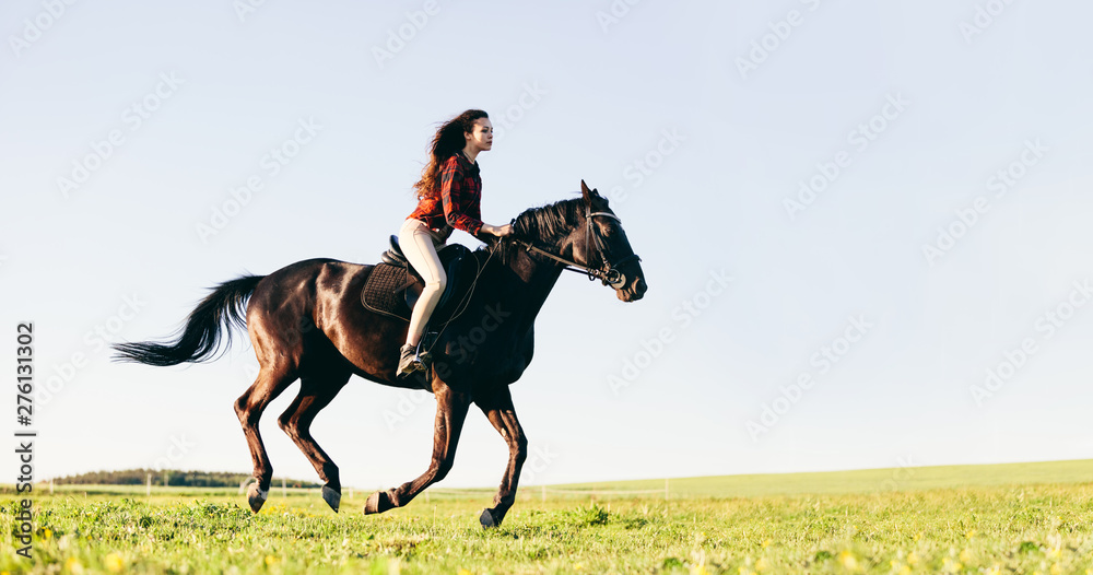 Fototapety, obrazy: Woman riding a horse on a grass field.
