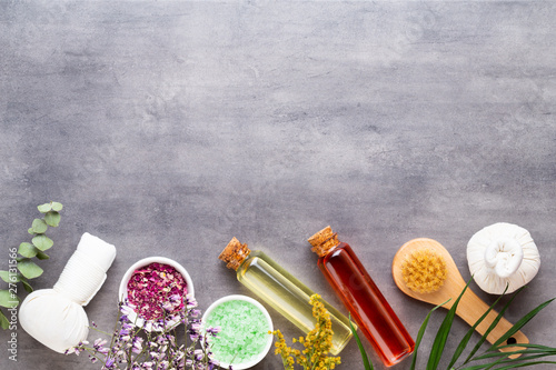 Foto op Plexiglas Spa Spa treatment concept, flat lay composition with natural cosmetic products and massage brush, view from above, blank space for a text.