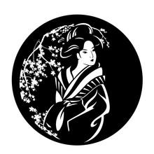 Beautiful Japanese Geisha Girl Wearing Traditional Kimono Among Blooming Sakura Branches Black And White Vector Design