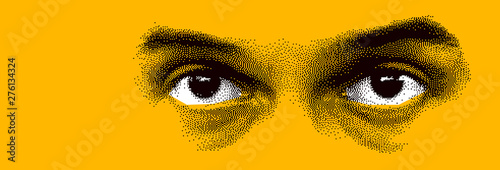 Fototapeta Looking eyes 8 bit dotted design style vector abstraction, human face stylized design element, black and yellow colors