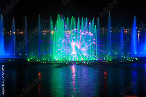 Canvas Print Music fountain water curtain movie images
