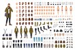 Man photographer or photo journalist creation kit or animation set. Bundle of body parts, clothes, accessories. Male cartoon character. Front, side, back views. Flat colorful vector illustration.