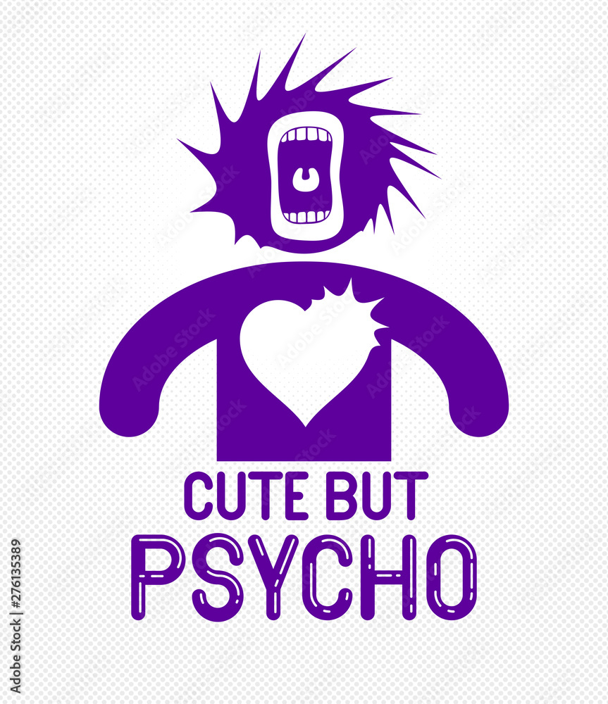 Fototapeta Cute but psycho funny vector cartoon logo or poster with weird expression man icon and screaming mouth, t shirt print or social media picture.