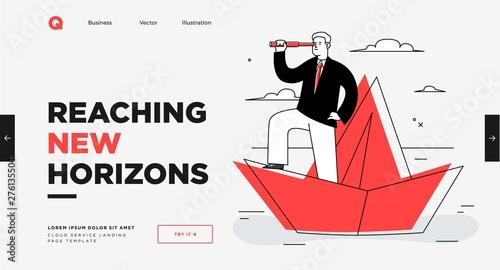 Presentation slide template or landing page website design Canvas Print