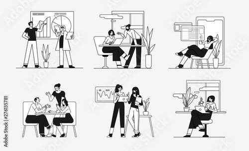 Obraz Collection of scenes at office. Bundle of men and women taking part in business meeting, negotiation, brainstorming, talking to each other. Outline vector illustration in cartoon style. - fototapety do salonu