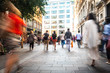 canvas print picture - Motion blurred London shopping street