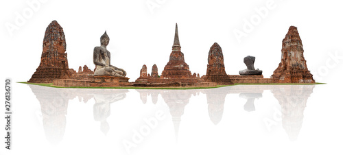 Foto  Old Temple ,Wat Mahathat in Ayutthaya from Thailand
