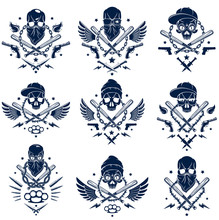 Criminal Tattoo ,gang Emblem Or Logo With Aggressive Skull Baseball Bats And Other Weapons And Design Elements, Vector Set, Bandit Ghetto Vintage Style, Gangster Anarchy Or Mafia Theme.