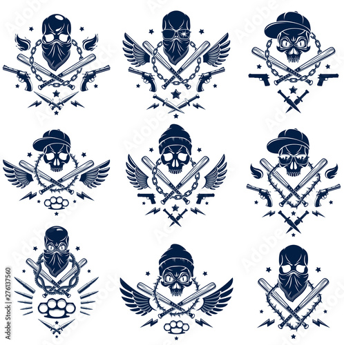 Criminal tattoo ,gang emblem or logo with aggressive skull baseball bats and other weapons and design elements, vector set, bandit ghetto vintage style, gangster anarchy or mafia theme. Wall mural