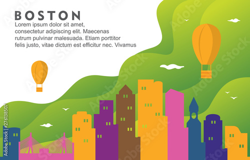 Photo Boston Massachusetts City Building Cityscape Skyline Dynamic Background Illustra