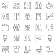 WC Outline Icons Set. Vector Toilet Linear Concept Symbols