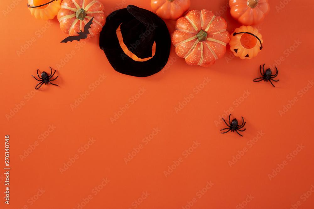 Fototapety, obrazy: Pumpkins decorations on orange paper