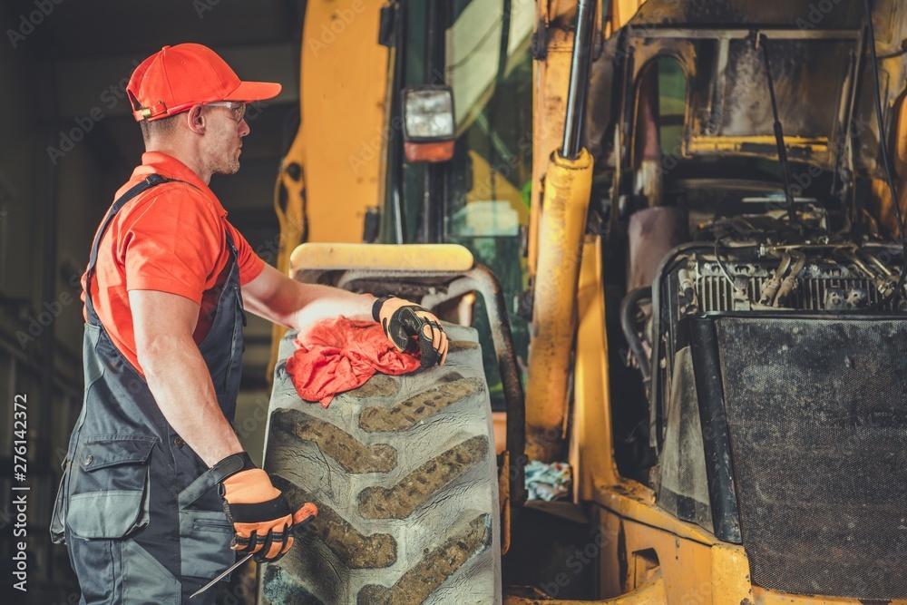 Fototapety, obrazy: Tractor Dozer Engine Repair
