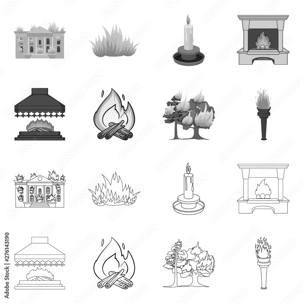 Fototapety, obrazy: Vector design of fire and flame logo. Collection of fire and fireball stock symbol for web.