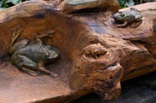A Frog Carved On A Trunk Of Wo...