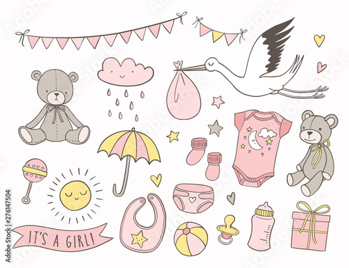 Fototapeta Girl Baby Shower Set Of Hand Drawn Newborn Items And Elements Invitations Cards Nursery Decor