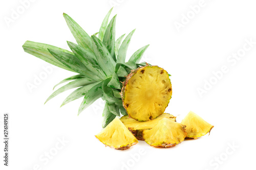 Poster Ecole de Danse Fresh pineapple Cut half isolate on white background