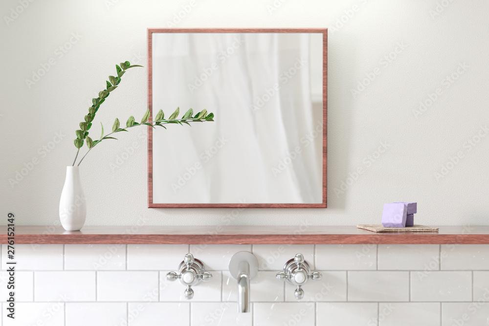 Fototapety, obrazy: Badezimmer Spiegel mit Dekor