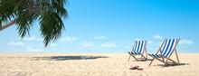 Liegen Auf Sand Strand Mit Palme Und Blauem Himmel