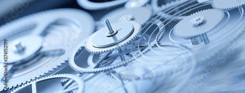 Fotomural  Panorama von Feinmechanik Uhrwerk Zahnrädern