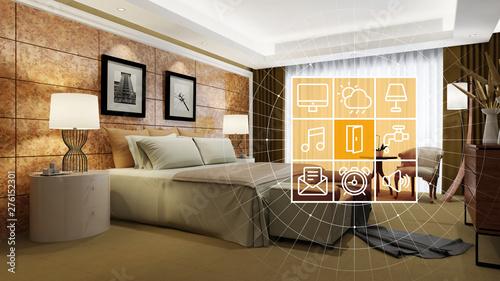 Obraz Elegantes Hotelzimmer mit Smart Home Steuerung - fototapety do salonu