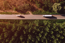 Aerial View Of Truck On Road T...