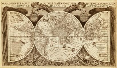 Stara karta svijeta, tiskana 1630. Luksuzna antička zidna karta s polutkama