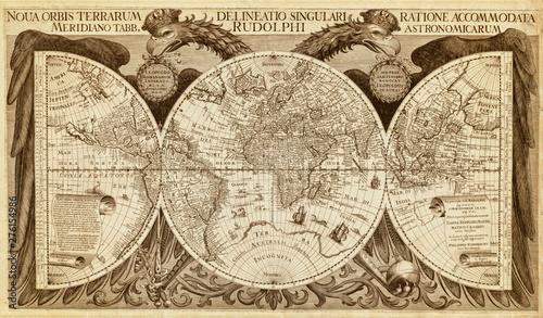 Fotografie, Obraz Old map of World, printed in 1630