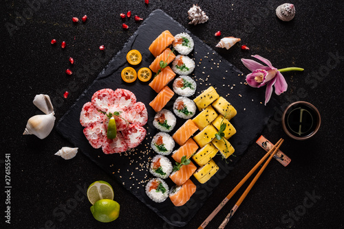 Garden Poster Sushi bar sushi on the black background