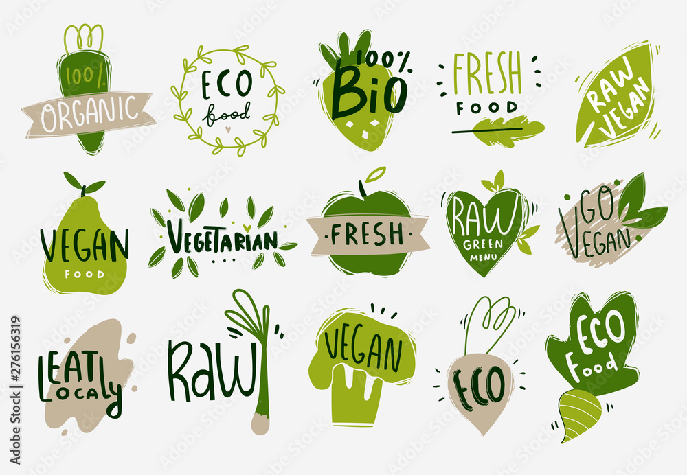 Fototapety, obrazy: Vegan, fresh, bio, raw, eco, organic and healthy logos and icons, labels, tags, badges. Hand drawn vector set of fruits and vegetables. Colored trendy illustration. Flat design. Everything is isolated