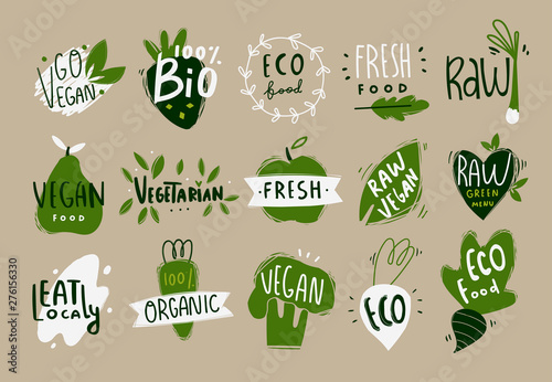 Tela Vegan, fresh, bio, raw, eco, organic and healthy logos and icons, labels, tags, badges