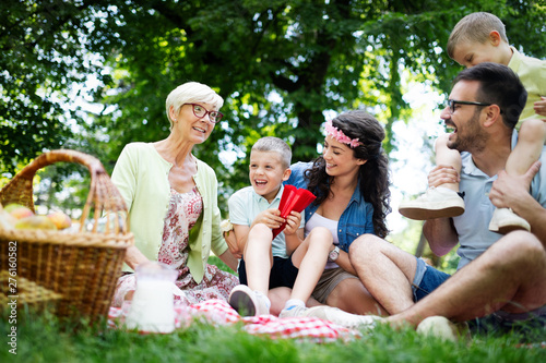 Poster Individuel Multi generation family enjoying picnic in a park