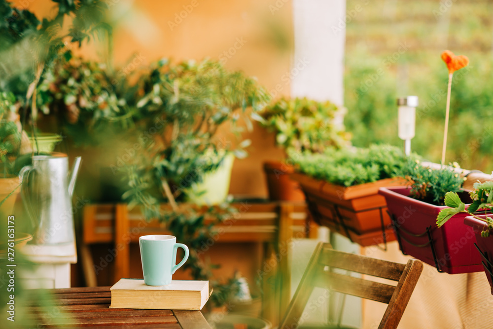 Fototapety, obrazy: Cozy summer balcony with many potted plants, cup of tea and old vintage book