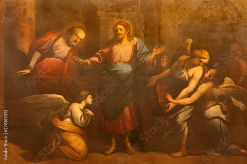 COMO, ITALY - MAY 11, 2015: The painting of Liberation Of Saint Peter from Prison in church Chiesa di San Orsola by Gian Paolo Recchi (1685).