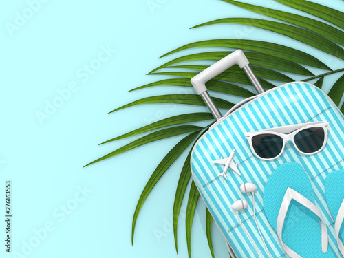Poster Pierre, Sable 3d render of suitcase with vacation stuff over blue background