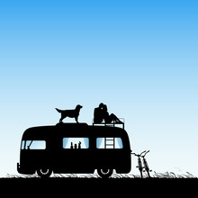 Lovers And Dog On Roof Of Cart...