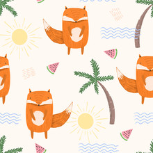 Cute Summer Seamless Pattern With Sketchy Orange Foxes, Colorful Waves, Palms And Melons. Funny Hand Drawn Childish Vacation Texture For Kids Design, Wallpaper, Textile, Wrapping Paper
