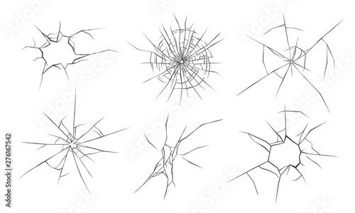 Fotografía Broken glass cracks, vector illustration set