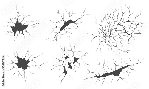 Fotografie, Obraz Cracks, vector illustrations set