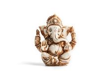 Hindu God Ganesh On A Black Background. Statue With Incense Smoke Aromo Sticks