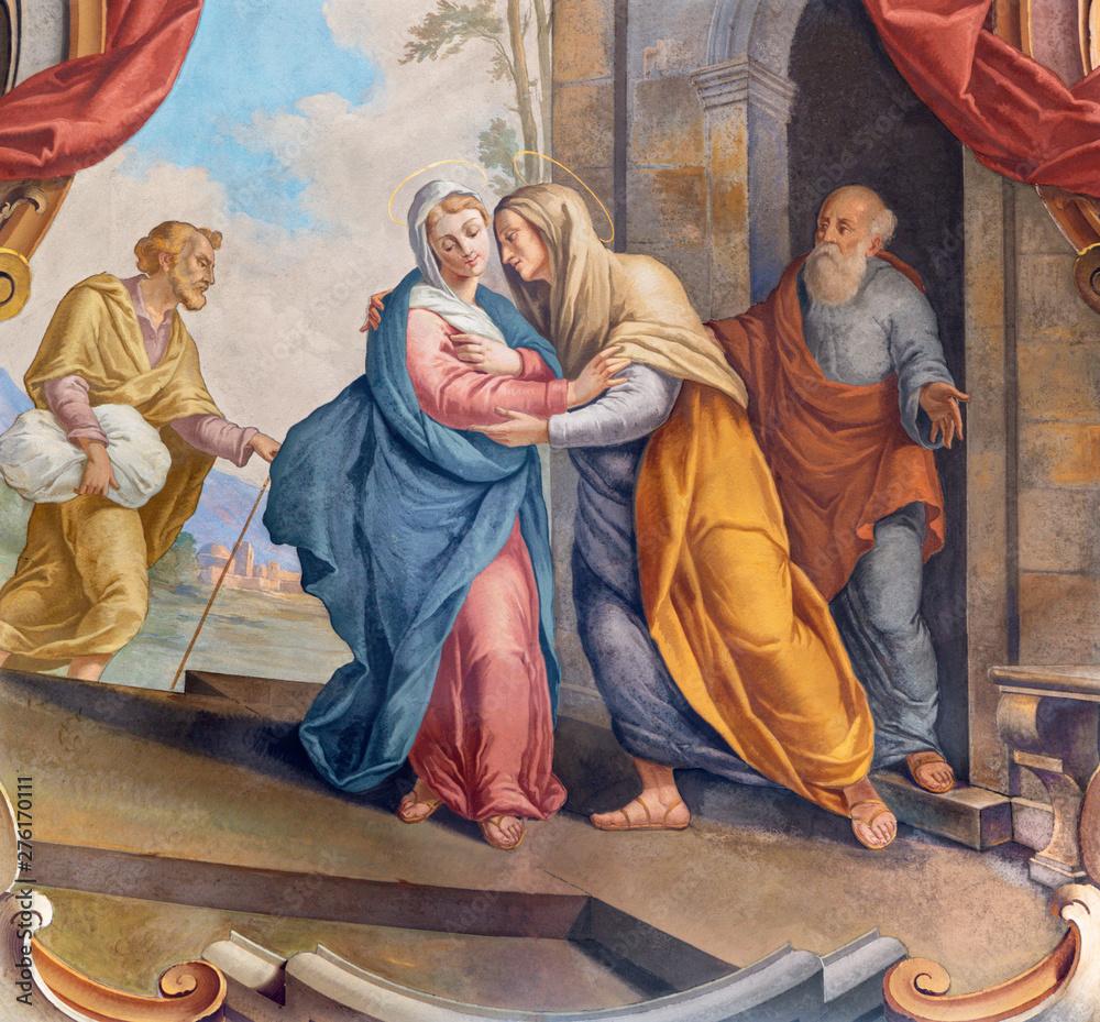Fototapety, obrazy: COMO, ITALY - MAY 8, 2015: The fresco of Visitation fresco in church Santuario del Santissimo Crocifisso by Gersam Turri (1927-1929).
