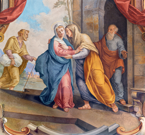 COMO, ITALY - MAY 8, 2015: The fresco of Visitation fresco in church Santuario del Santissimo Crocifisso by Gersam Turri (1927-1929).