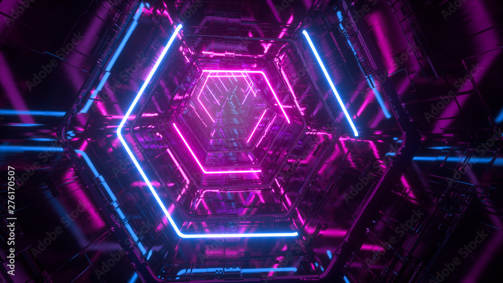 Fototapeta Flying through endless luminous tunnel. Construction with neon glowing hexagons. Hyper loop. Abstract creative futuristic background. Reflective surfaces. Modern colorful illumination. 3d rendering