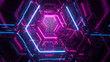 canvas print picture - Flying through endless luminous tunnel. Construction with neon glowing hexagons. Hyper loop. Abstract creative futuristic background. Reflective surfaces. Modern colorful illumination. 3d rendering