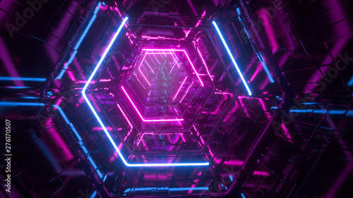 Obraz Flying through endless luminous tunnel. Construction with neon glowing hexagons. Hyper loop. Abstract creative futuristic background. Reflective surfaces. Modern colorful illumination. 3d rendering - fototapety do salonu